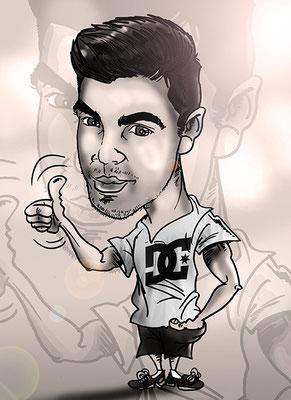 Caricatura individual en blanco y negro, con todos los detalles: 15€