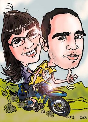 Caricatura de pareja personalizada + vehículo con todos los detalles: 45€