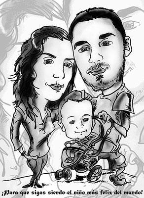 Caricatura blanco y negro 2 personas + niño: 30€