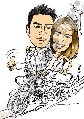 Caricatura digital de fotografías de pareja para boda