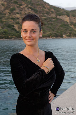 Jewellery: Dimiourgiko Vildiridis , Dress: Alexandra Collection