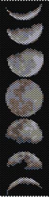bracelet pattern, delica seed beads, peyote pattern, loom pattern, yoga bracelet, Beadwork pattern, jewelry pattern, moon bracelet, moon phases