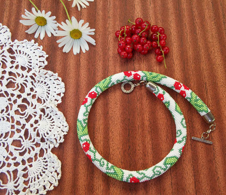 Sale Women Ukrainian Necklace White Red berries Embroidery Red Guelder Rose Viburnum gift for Women Bead Crochet Green wedding Beadwork