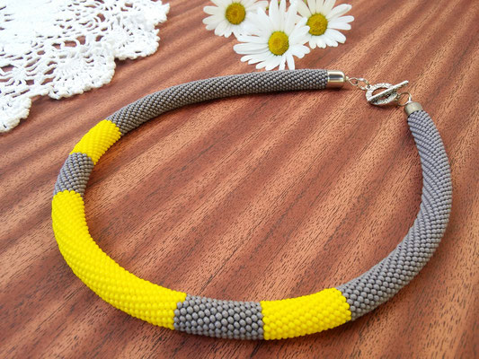 Sale Stylish Minimalism Necklace Yellow Grey Beadwork Bead Crochet Office Necklace Gift for women Everydy Simple Casual necklace