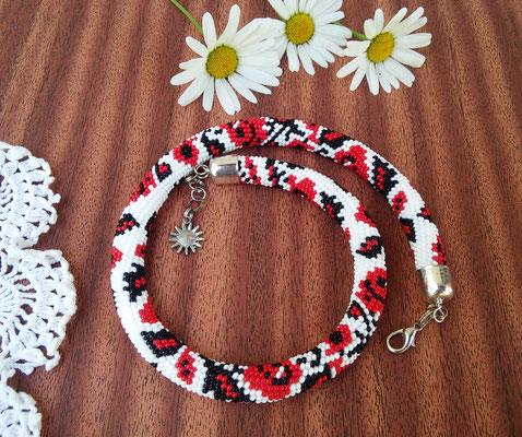 Sale Women Ukrainian Necklace White Red berries Embroidery Red Rose gift for Women Bead Crochet wedding Beadwork
