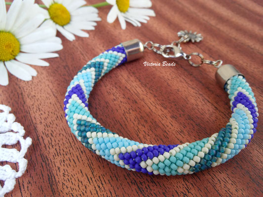 Sale Women Blue Matte Beadwork Bracelet Boho Simple Bead Crochet Jewelry gift for Women girlfriend gift minimalism thin Wedding Jewelry