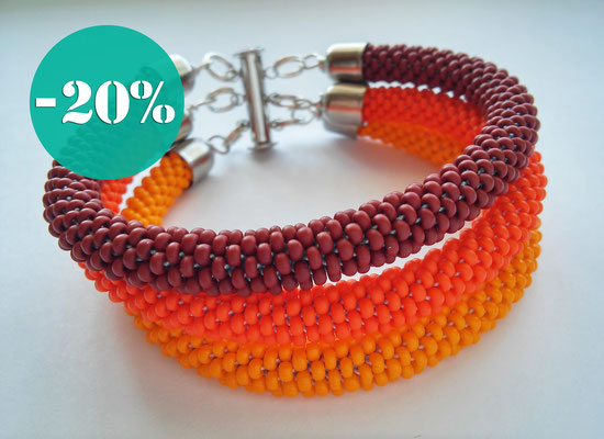 Sale Terracotta beaded Orange bracelet Yellow Brown Boho 3 Strand Bead Crochet Beadwork everyday Bracelet gift for Women girlfriend gift