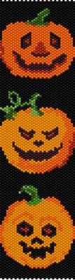 halloween pumpkins, bracelet pattern, delica seed beads, peyote pattern, loom pattern, halloween bracelet, Beadwork pattern, jewelry pattern