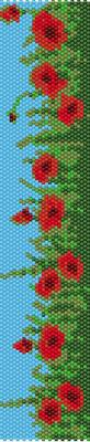 bracelet pattern, delica seed beads, peyote pattern, loom pattern, poppy bracelet, Beadwork pattern, jewelry pattern, flowers bracelet