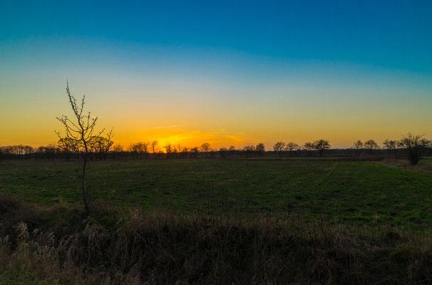 Naturlandschaft zur blauen Stunde