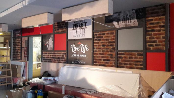 Pizza Hut, Dresden | Innenbeschriftung - Dekoration - Digitaldrucke