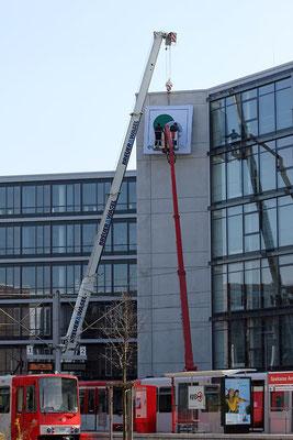 Energiebau, Köln | Spanntuchanlage 3,0 x 3,0 m mit LED-Ausleuchtung