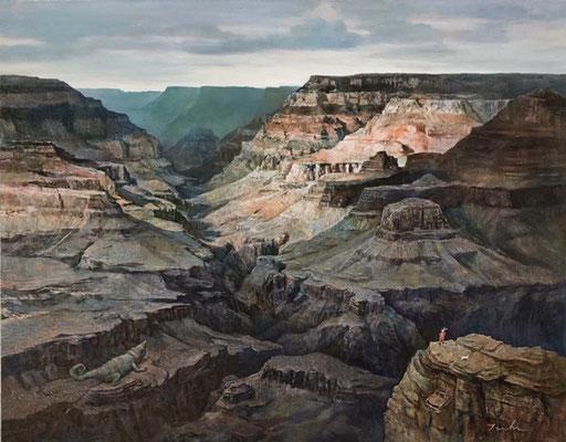 「大峡谷」F50パネルに油彩 原太一