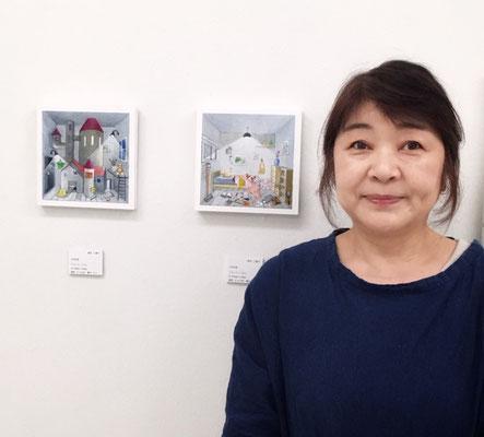 高松三智子先生、作品と一緒に。