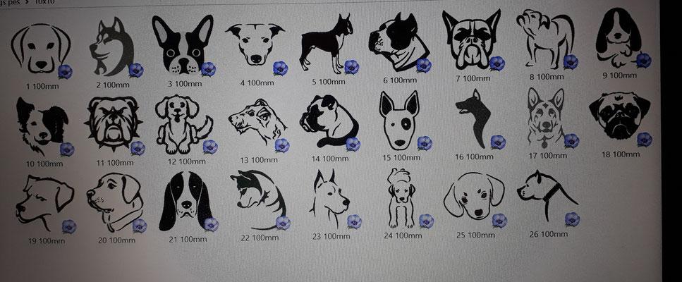 Eine Auswahl an Stickmotiven zum Thema Hund.