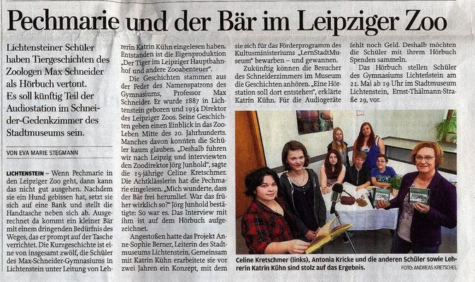 Vorstellung eines Hörbuches über Prof.Dr. Schneider von Schülern des Lichtensteiner Gymnasiums, Freie Presse 19.05.2015