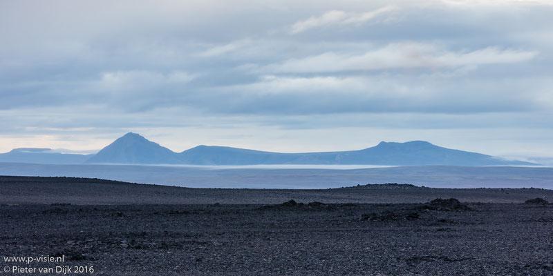 Na zonsondergang in de omgeving van Langjökull