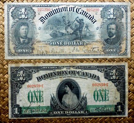 Canada -Dominion of Canada 1 dolar 1898 vs. 1 dolar 1917 anversos