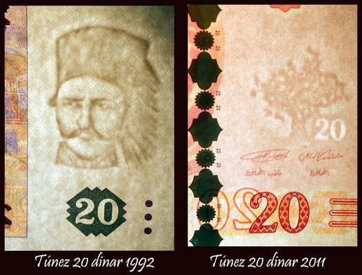 Túnez 20 dinares 2011 vs 1992 marcas de agua