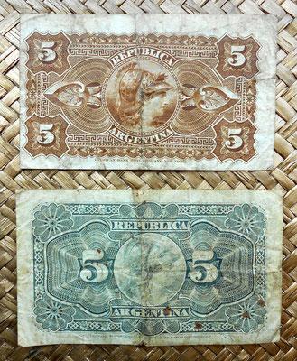 Argentina 5 centavos de peso 1883 vs. 5 centavos de peso 1891 reversos