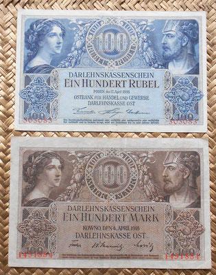 Lituania Ocup. alemana WWI Posen 100 rublos 1916 vs Kowno 100 marcos 1918 anversos