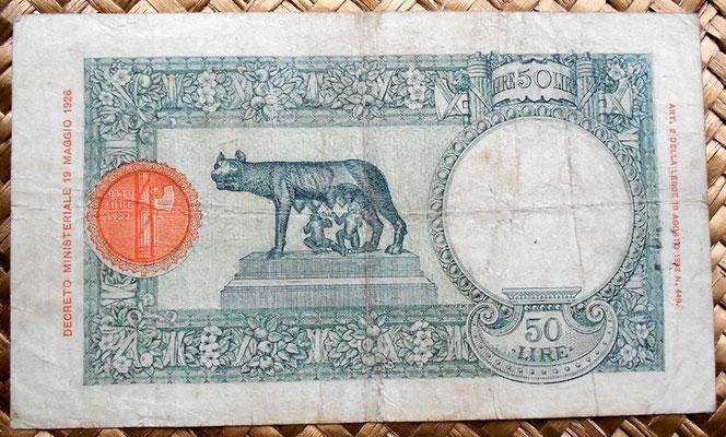 Italia AOI 50 liras 1938 reverso