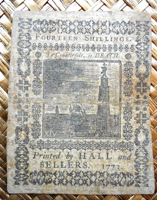 Asentamientos Pensylvania 14 shillings 1773 reverso