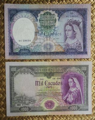 Portugal 1000 escudos 1956 vs. 1000 escudos 1961 -Philippa de Lancaster anversos