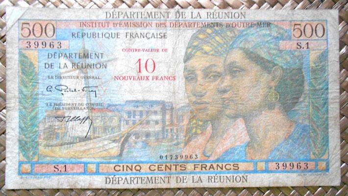 Isla Reunión 500 francos sobreimpreso 10 nuevos francos 1971 anverso