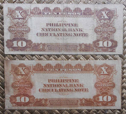 Filipinas 10 pesos -G. Washington 1921 vs. 1937 reversos