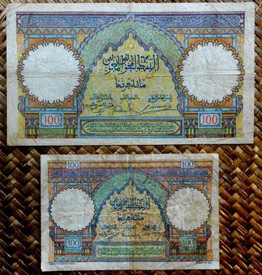 Marruecos colonial 100 francos 1941 vs. 100 francos 1950 reversos