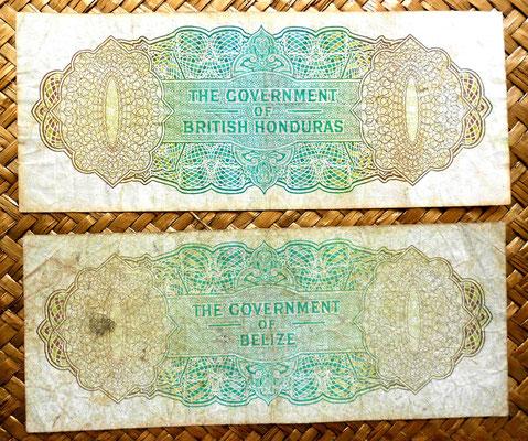 British Honduras 1 dolar 1973 vs Belice 1976 reverso