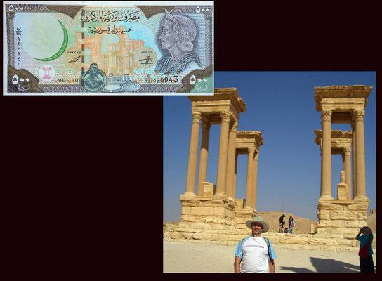 100 libras Siria desde Palmira Tetrapilo