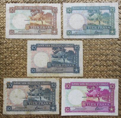 Congo Belga 10 francos Danza Watusi 1941-42-43-44-49 reversos