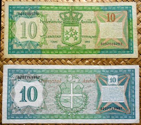 Antillas holandesas 10 gulden 1984 vs Aruba 10 florines 1986 reverso