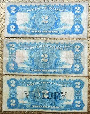 Filipinas 2 pesos 1924 vs. 1936 vs. 1944 reversos