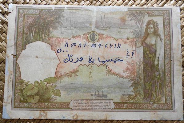Djibouti colonia francesa 500 francos 1927 reverso