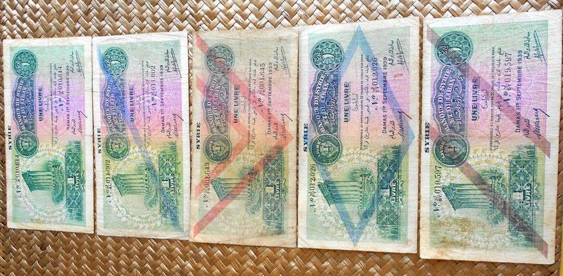 Siria 1 libra 1939 sin resello y cuatro resellos anversos