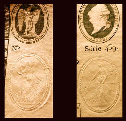 Francia Asignado -À Face Royal- 25 libras 1792 sellos en seco