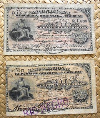 Uruguay 1887 20 centesimos oro sellado vs. resello Rio Negro anverso