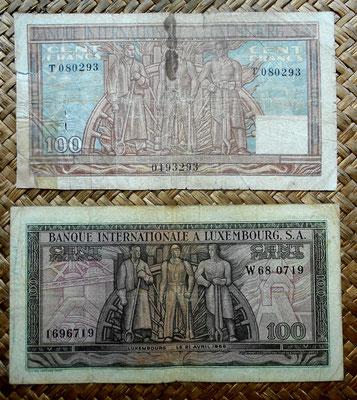 Luxemburgo 100 francos 1947 vs. 100 francos 1956 reversos