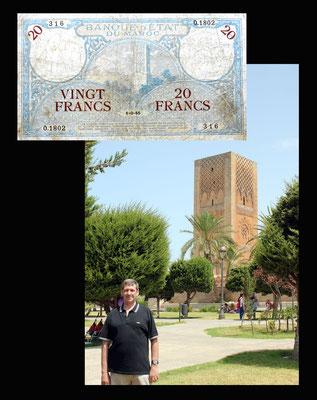 20 francos Marruecos desde la Torre Hassan