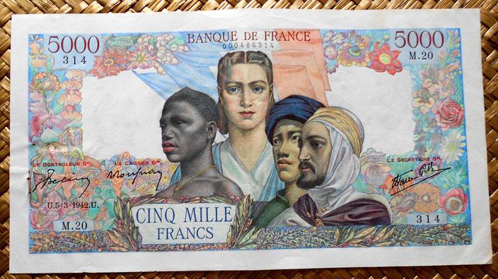 francia 5000 francos 1942 anverso