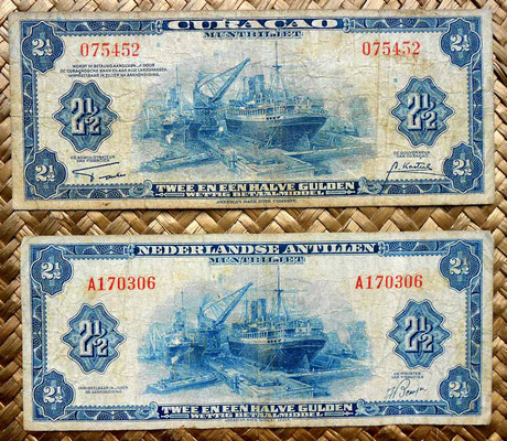 Curacao 2,5 gulden 1942 vs. Antillas holandesas 2,5 gulden 1955 anversos