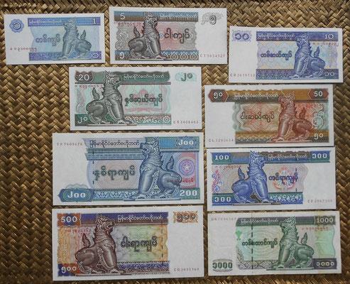 Myanmar serie Kiats final s. XX -Chinze anversos
