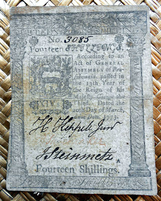 Asentamientos Pensylvania 14 shillings 1773 anverso