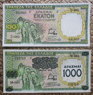 Grecia 100 dracmas 1939 vs. 100 resellado 1000 dracmas 1939 anversos