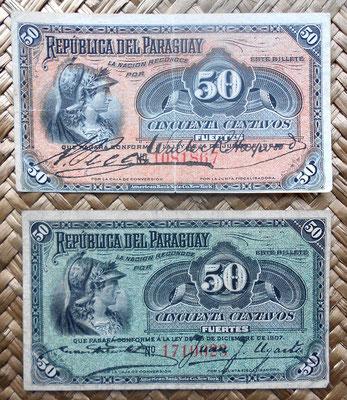 Paraguay 50 centavos 1903 vs. 50 centavos 1907 anversos