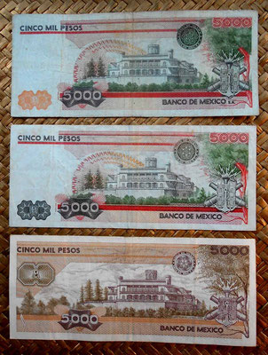 México 5000 pesos -Héroes cadetes 1982 vs. 1985 vs. 1987 reversos