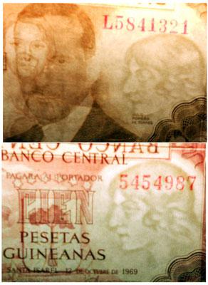 España 100 pesetas 1953 vs Guinea Española 100 pesetas 1969 marcas de agua